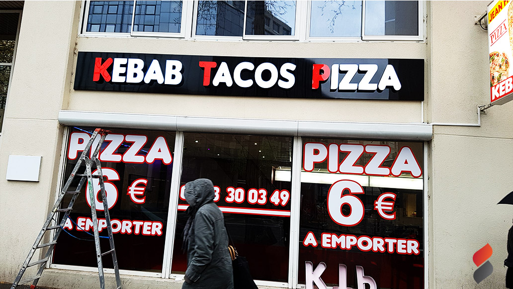 Kebab tacos pizza